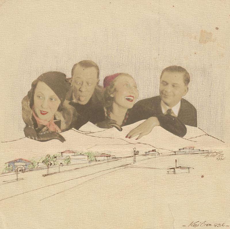 Said Bey'in oğlu, Hakkı Tez'in 1930'larda yaptığı bir kolaj. Yol, elektrik direkleri ve yapılar: moderni sergilemek